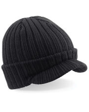 Beechfield Peaked Beanie Hat Winter Cap Soft Heavy Ribbed Knit Double Layer Ski