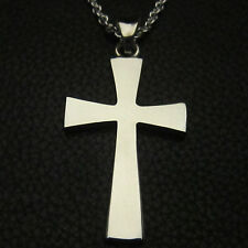 "MJG STERLING SILVER 1 5/8"" TALL GOTHIC SABBATH CROSS + CABLE CHAIN."