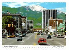 Colorado Springs Postcard Pikes Peak Avenue Stone Center Antlers Plaza Hotel