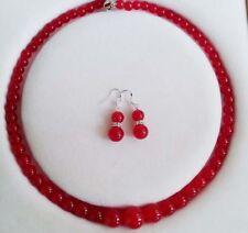 "Fashion 6-14mm Genuine Red Jade Gemstones Round Necklace Earrings Set 18"""