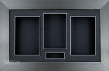 New Large 3D Pewter Shadow Box Display & Photo Frame Black Mount Handmade Custom