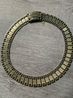 """Vintage Sarah Coventry Snap Closure Choker Necklace Signed Gold Tone 15"""""""