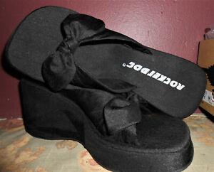 Rocket Dog Silk Black Bow Tie Platform Shoes Casual Flip Flop Slip On Sz 9M NIB
