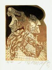 BEDNARIK Leo (SLO), signed colored etching ex libris Silvio Forni, Music, Wagner