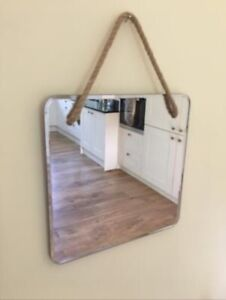 Modern Vintage/Retro Style Square Rope Hanging Bevelled Edge Mirror