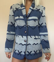 Vintage Large Women's Aztec Western Blazer Blue Rodeo Cowgirl Jacket Tribal