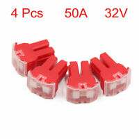4pcs 50A Red Plastic Casing Female PAL Cartridge Fuse for Auto Car Vehicle
