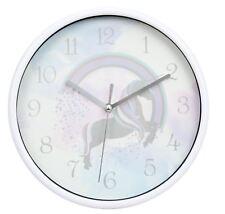 Childrens Round Nursery Bedroom Playroom Rainbow Unicorn Clock 19cm