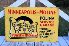Minneapolis Moline Power and Machinery Tractor Farm Advertising Sign Gas Oil