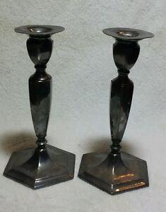 Rare Vintage Adelphi Quadruple Silver Plate Pair Taper Candle Sticks Holders