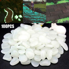 100pcs White Luminous Stones Pebble Gardening Aquarium Landscaping Pebble Decor@