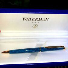 Waterman Marble Blue Turquoise and Gold Slim Ballpoint Pen New in Case