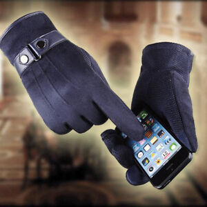 1pair winter mens gloves Faux suede Leather Black leather gloves_yk