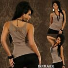 009 STUNNING SLEEVELESS TOP TANK COTTON TAUPE T_SHIRT VEST LACE BACK SIZE L/XL
