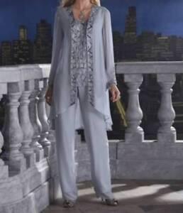 Mother of Bride Groom Women's Wedding Church 3PC duster pant set suit plus 1X
