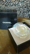 Rare Collect CHANEL Space Crystal Clear Rainbow Camellia Large Brooch Pin in Box