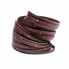 Linea Pelle Italian Leather Double  Wrap  Sliced Gold Studded Bracelet  - Brown