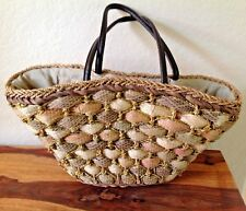 Gorgeous~ Woven Straw~SUN  N' SAND~Tote Bag with Gold Accents - EUC