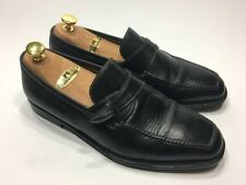 Sutor Mantellassi $1050 Black Leather Strap Loafers Dress Shoes Men's Size 9 M