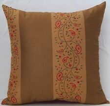 Embroidered Red Floral Gold Caramel with 100% Red Silk Decorative Throw Pillow