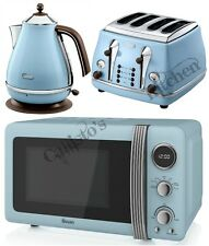 Blue Microwave + Kettle and Toaster Set Delonghi Icona and Swan Retro Brand New