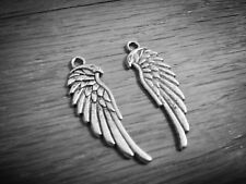 10 Angel Wing Charms Antiqued Silver Wing Pendants 2 Sided 34mm