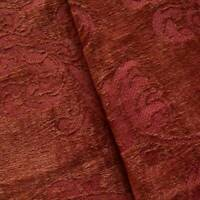 Deep Maroon Floral Chenille Jacquard Decorating Fabric, Fabric By The Yard
