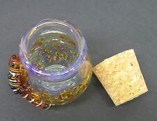 Brown 3-D Lizard Glass Jar Hand Blown Jug Fitted Cork Trinket Container B