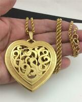 """Vintage Gold Plated  3"""" HEART PENDANT Rope Chain STATEMENT Necklace 29"""" Long"""