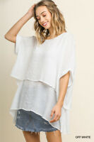 Umgee White Layered Short Sleeve Tunic Top Regular S M L + Plus Size XL 1XL 2XL