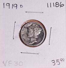 1919 D SILVER MERCURY DIME #11186, VERY FINE - DARK TONE-FREE SHIPPING