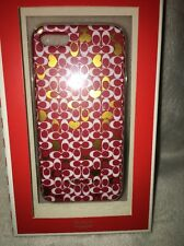 Coach Signature C PINK WHITE GOLD  iPhone 5 Hard Cover Case new