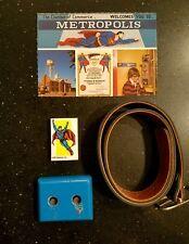 Vintage 1980s Superman Memorabilia Kids Belt, Eraser, Metropolis Postcard, Stand