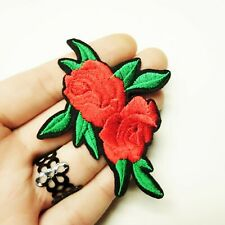 red burgundy rose black leaf iron on flower applique trim motif patch goth emo