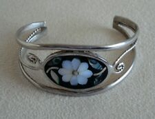 Of Pearl Flower Cuff Bracelet Alpaca Mexico Inlaid Abalone Mother