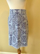 Pre-Owned NEW YORK & COMPANY Light Blue Lace A-Line Skirt, Size 8