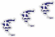 Griechenland LandKarte Flagge 3x Aufkleber 3cm Silhouette Motorrad Helm Laptop