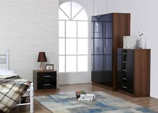 REFLECT High Gloss Black / Walnut 3 Piece Bedroom Furniture Plain Set Soft Close
