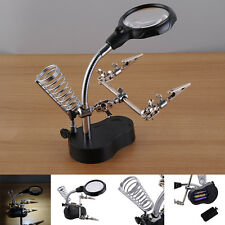 Helping Hand Soldering Stand With LED Light Magnifier Magnifying Glass 3.5X 12X