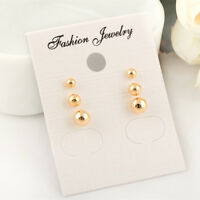 18K Gold / White Gold GP Solid Ball Beads Cartilage Piercing Stud Earrings Set