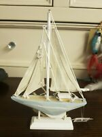 Distressed Boat on Plinth Nautical Ornament Beach Theme Decor by Gift Works
