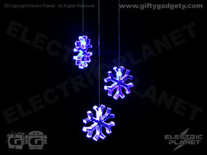 Snowflake Colour-Changing LED Mobile Light, Battery-Powered, 3 Shapes Per Light