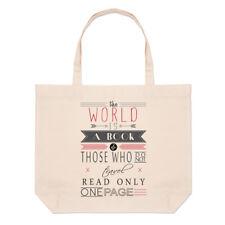 The World Is A Book Frase Grande Bolso Playa Bolsas Fuente De Inspiración Viaje