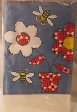 """Vintage Red Bandanna Denim Patchwork Flower Bees Paper Table Cover Nos 54"""" x 88"""""""