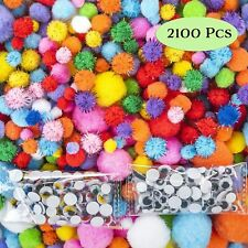 Huge 2100 Pieces Pom Poms for Crafts Including 100 Colored Googly Eyes