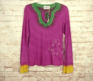 NWT Gypsy 05 Pink Tie Dyed Long Sleeve Top V-neck Tie Embroidery Hippie Boho M