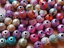 100 Mixed Acrylic METALLIC Sparkly Glitter BEADS  6mm-Jewellery Making-Crafts