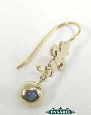 New Pair of 14k White & Yellow Gold Fleur-De-Lis Sapphire Earrings
