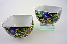 Pair Japanese Porcelain Tea Bowls - Hand Painted Floral - Yamazaki Kutani-Yaki