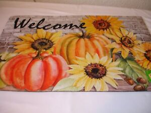 New! Fall Pumpkin Sunflowers Pumpkins Door Mat Outdoor Floor Mat Area Mat